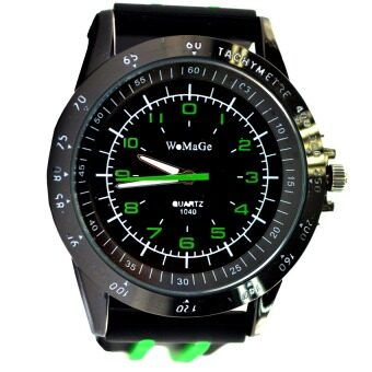 Harga WoMaGe Brand Clock Quartz Movement Silicone Band Wristwatch Watch Men Relogio Masculino Sports -Black Green