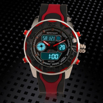 Harga SANDA Men's Sports Waterproof Silicone Digital Analog Quartz Wristwatch Watch (Red)