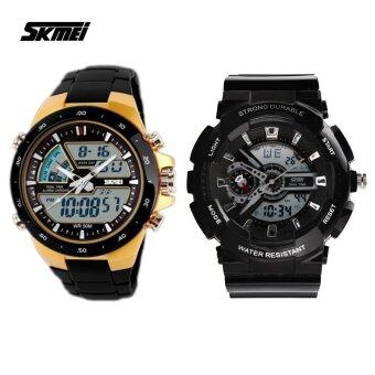 Harga SKMEI 0929 Men's LED Analog Digital Alarm Stopwatch Wristwatch (Black) +SKMEI Men's Black Rubber Strap Watch 1016