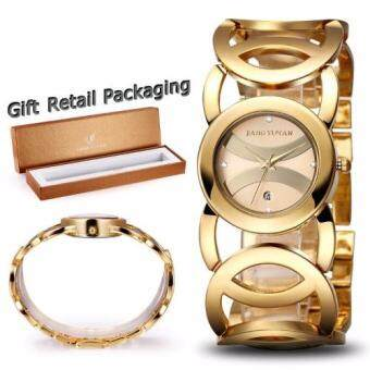 JIANGYUYAN Brand Luxury Crystal Gold Watches for Women FashionDress Bracelet Quartz Watch With Auto Date 380802-393901