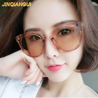 JINQIANGUI Sunglasses Women Cat Eye Retro Plastic Frame Sun Glasses Brown Color Eyewear Brand Designer UV400