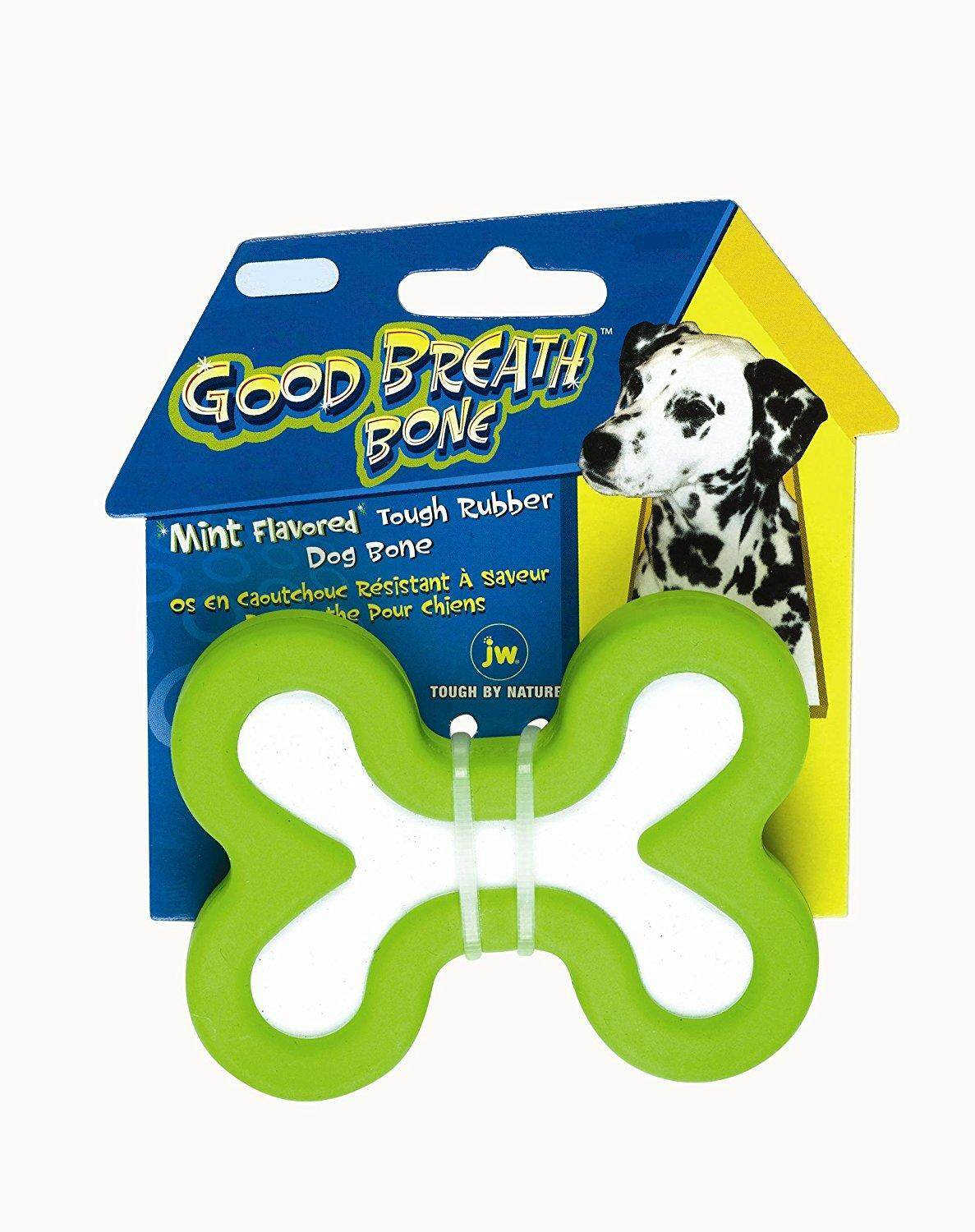 [JW PET TOYS] Good Breath Bone Durable Natural Rubber Dog Solid Rubber Toy - Medium