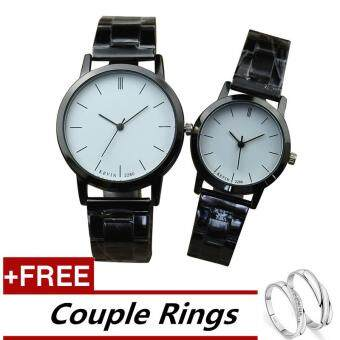 KEVIN 2280 Couple Lover Women Men Quartz Steel Wrist Watch White +Free Adjustable Lovers Rings (Buy 1 Get 1 Free)