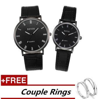 KEVIN G# Fashion Couple Lover Women Men Quartz Leather Wrist Watch +Free Adjustable Lovers Rings (Buy 1 Get 1 Free)