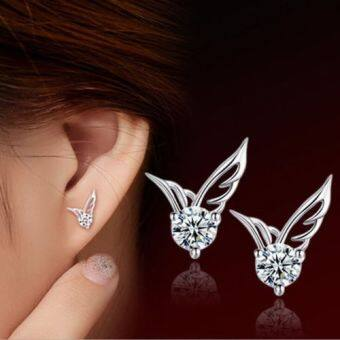 Harga Kuhong Lady Silver Plated Jewelry Angel Wings Crystal Ear StudEarrings