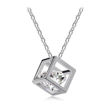 Harga [Little B House] 3D Love Heart Crystal Necklace - KT60 Silver