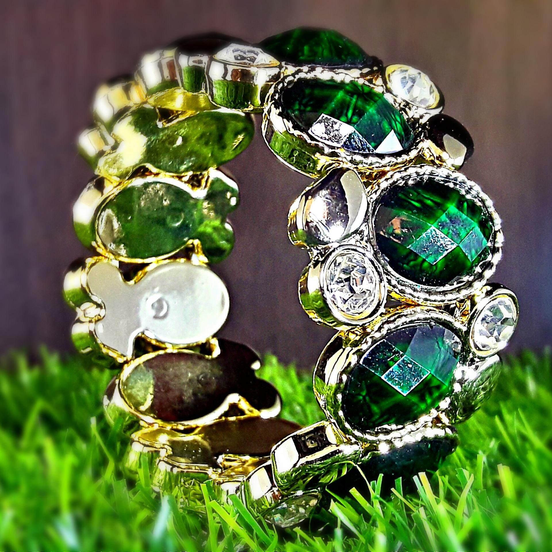 LOVISTA Classic Green Zirconia Crystal Diamond Stripe Bangle
