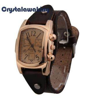 13b9f6c7f Men Women Leather Band Rectangle Dial Wristwatch Quartz Watch Purplish Red