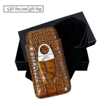 Harga Monsiter Crocodile Skin Travel Cigar Case with Cutter for 3 Cigars