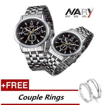 NARY 6033 Dial Classic Couple Lover Women Men Quartz Full StainlessSteel Wrist Watch Black ( with Free Adjustable Lovers Rings )