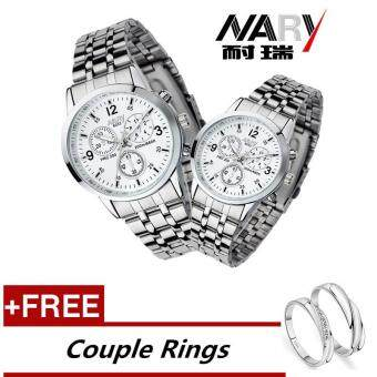 NARY 6033 Dial Classic Couple Lover Women Men Quartz Full StainlessSteel Wrist Watch White ( with Free Adjustable Lovers Rings )