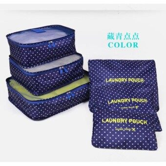 New Arrival 6 in 1 Travel Storage Organizer Bags Set Packing Cube Pouch Bag (Navy