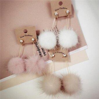 Harga New style Women's Ear Jewelry Rhinestone Long Chain Mink Fur BallDrop Earrings
