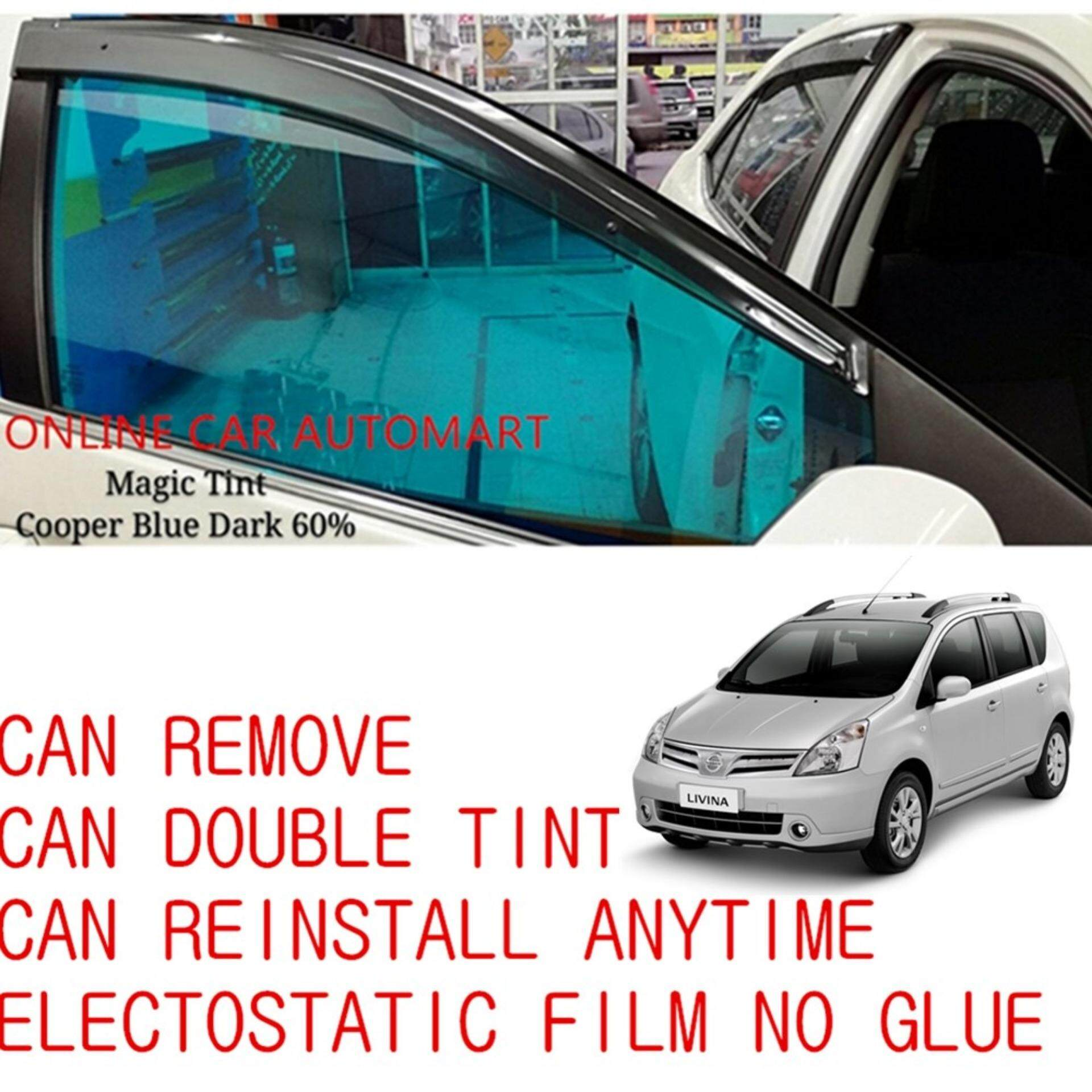 OEM Pre-Cut Shape Magic Tinted Solar Tinted (6 Windows) 60% Cooper Blue Dark For Nissan Grand Livina