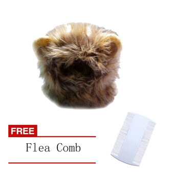 Harga Pet cat Dog Costume Lion Mane Wig Hat for Dog Cat Halloween+FreeFlea Comb[Buy 1 Get 1 Free]