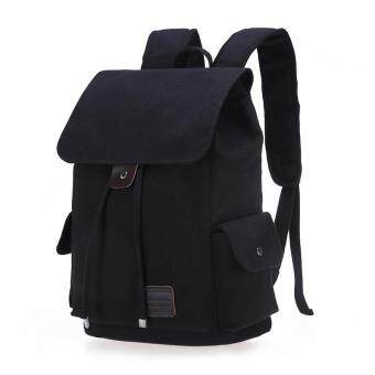 Retro Designer Drawstring Canvas Backpack Rucksack School BagTravel Bag (Black)