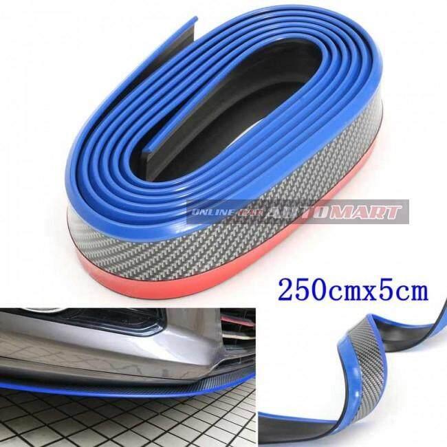 SAMURAI CARBON FIBER BLUE LINE Look Car Body Kit Bumper Lip Side Skirt Rubber Edge Decorative Protector Trim