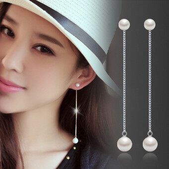 Silver Plated High Quality Imitation Pearl Drop Earrings Fashion Jewelry For Women EA2004S (Silver)