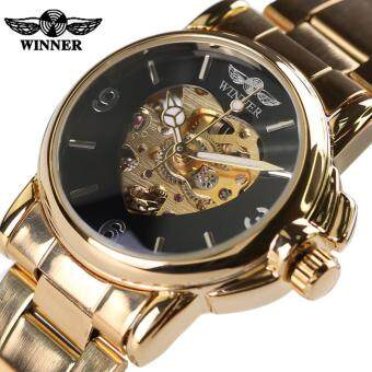 Skeleton Watch Gold Automatic Mechanical Love Shape Wristwatch Stainless Steel Strap Women Casual Fashion Watch (
