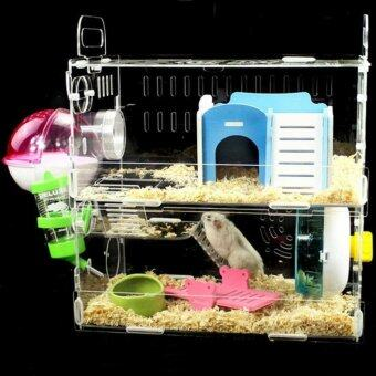 Toparchery Transparent Acrylic Pet Animals Hamster Clear View House2 Tiers Castle Rat Mouse Cage Villa