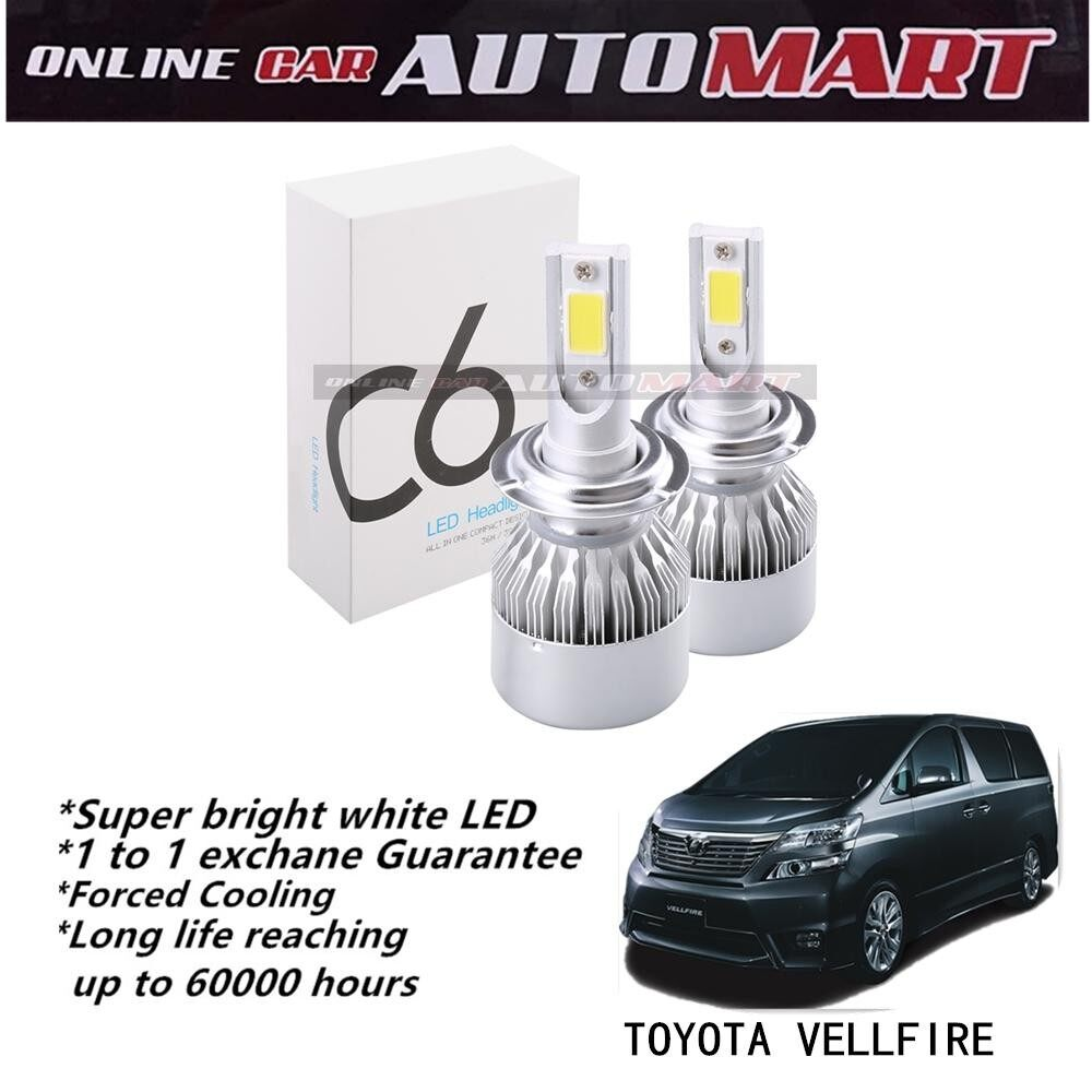 Toyota Vellfire Yr 2006-2014/Vellfire Yr 2015-C6 LED Light Car Headlight Auto Head light Lamp 6500k White Light