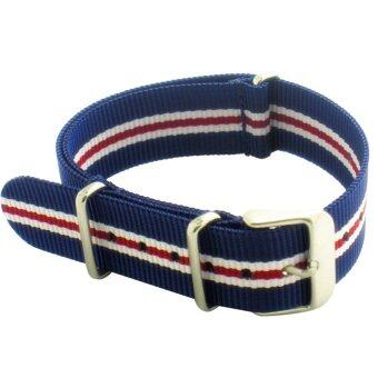 Harga Twinklenorth 20mm Blue Red White Stripes Nato Strap Nylon MilitaryWatch Band Strap Watchband NATO-009