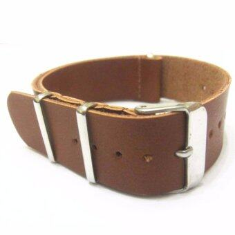 Harga Twinklenorth 22mm Light Brown Genuine Leather Nato Military WatchBand Strap NATO-028