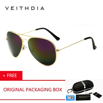 VEITHDIA Classic Fashion Polarized Sunglasses Men Women Colorful Reflective  Coating Lens Eyewear Sun Glasses cermin 3c811806a3