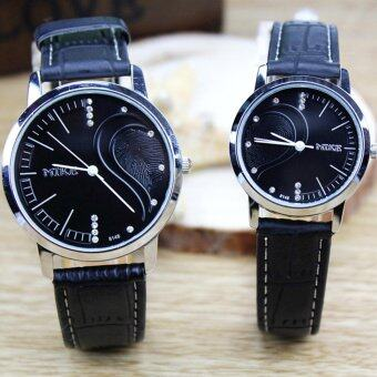 Waterproof Couple Quartz Leather Romantic Pair She and He Wrist Watches for Valentine's Day Present Set