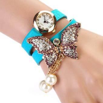 Women Faux Pearls Rhinestone Butterfly Bracelet Quartz Analog Watch GN