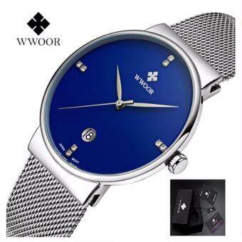 WWOOR Business Luxury Watches Men's Slim Watches Best Luxury Brand Name Date Quartz Watches Stainless Steel Sports Watches Men's Watches + Gift Boxes