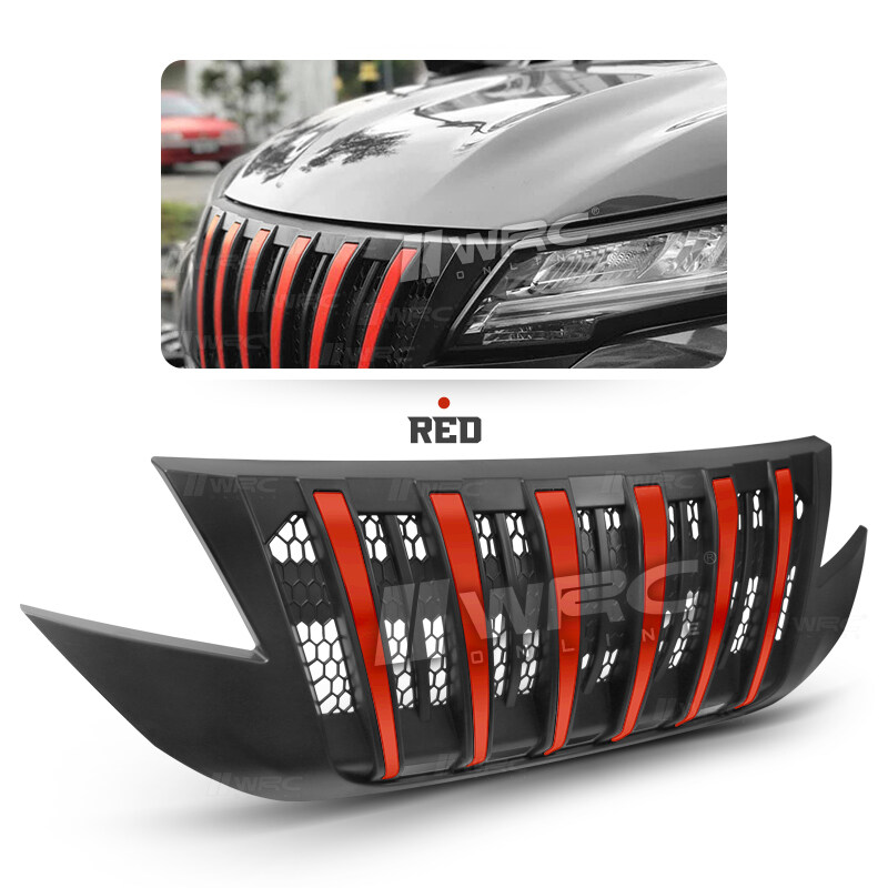 Perodua Aruz Front Bumper Grille Replacement Venom Grille V2 With Air Flow ( Red Trim )