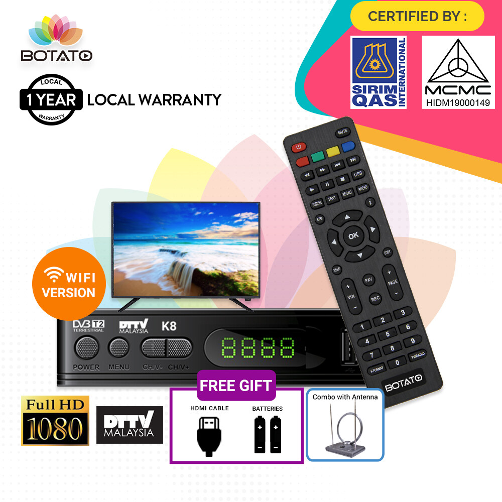 SIRIM & MCMC Certified [ 1 Year local warranty ] Myfreeview dvbt2 DVB T2 Set Top Box DTTV Decoder My Tv Full HD TV Digital Local tv mytv Decoder Set top Settop box [[Botato Electronics]]