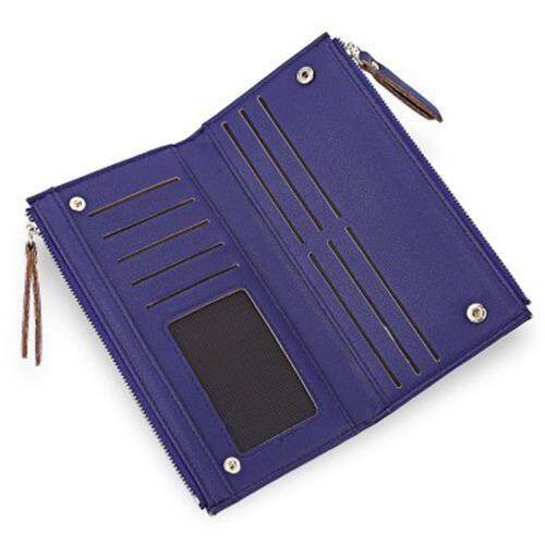 GUAPABIEN DOUBLE ZIPPER PLAID DESIGN TWO FOLD HORIZONTAL WALLET FOR LADY (PURPLISH BLUE)