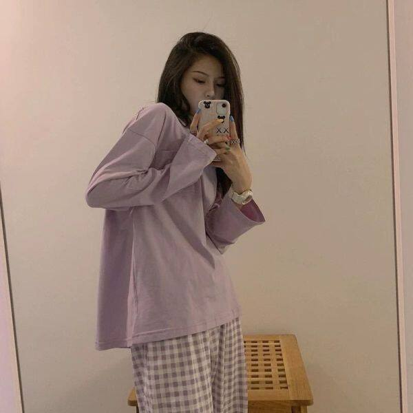 Bộ Đồ Ngủ Màu Đỏ Lưới Dễ Thương Kẻ Sọc Dài Tay Hàn Quốc Hyuna Bộ Đồ Mặc Nhà Mùa Xuân Và Mùa Thu Cho Nữ
