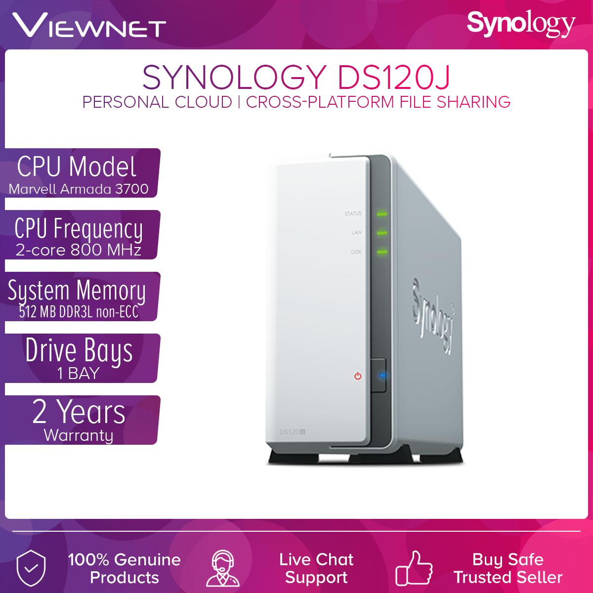 Synology DS120j NAS DiskStation 1-Bay NAS 2-Core Processor Ideal Data Backup Storage for Entry Level