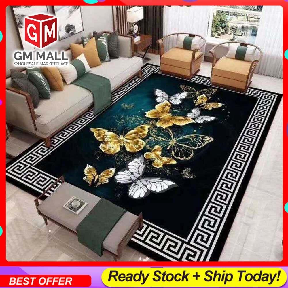 NEW DESIGN CARPET SIZE BESAR L/XL European Style Carpet Printed 3D Black Butterfly Brown Mat Floor - Karpet Bercorak 3D Waterproof/Living Room/Bedroom Material Velvet (C-24)