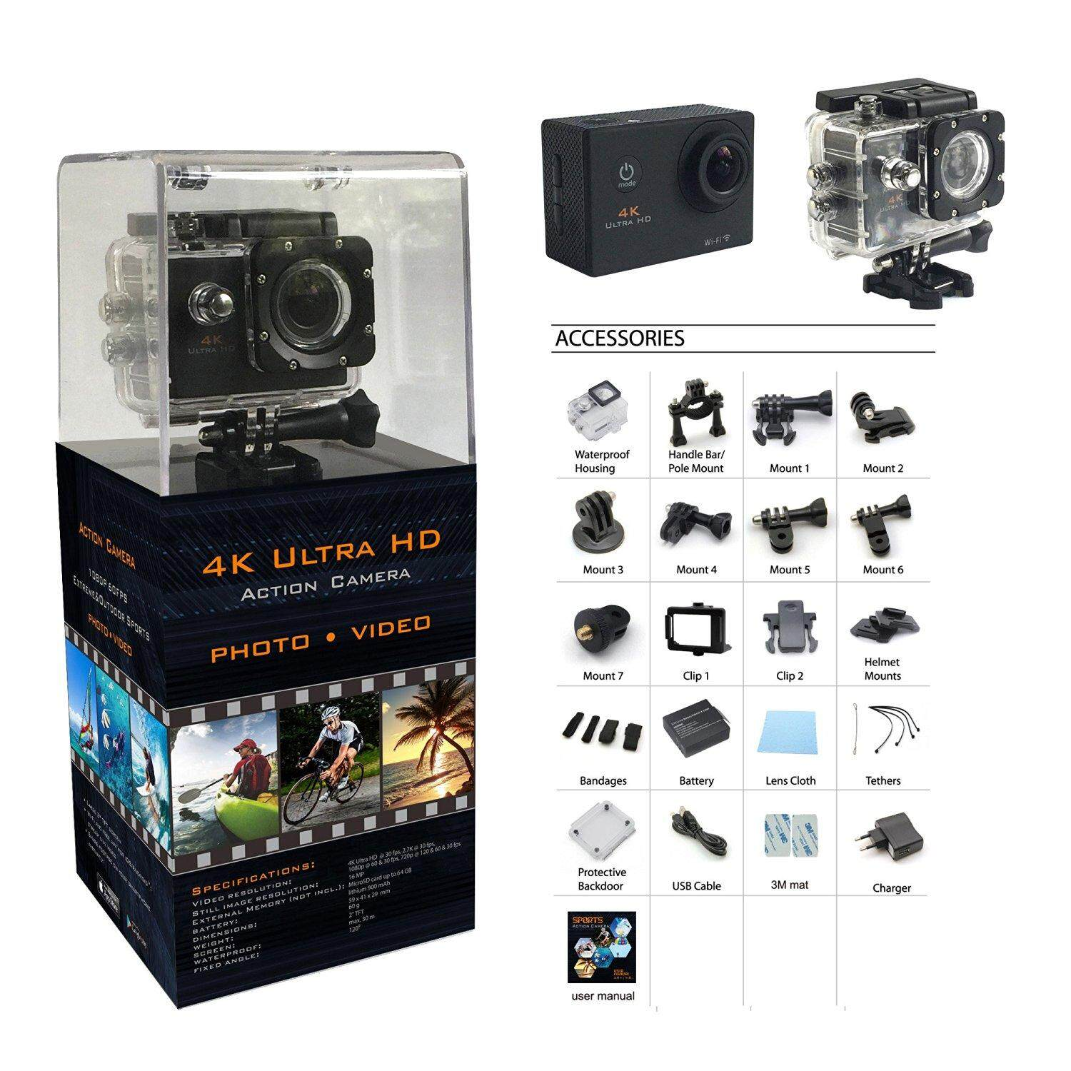 "K Ultra HD 30M Waterproof Sports WiFi Action Camera DV DVR 2.0"" SJ8000"