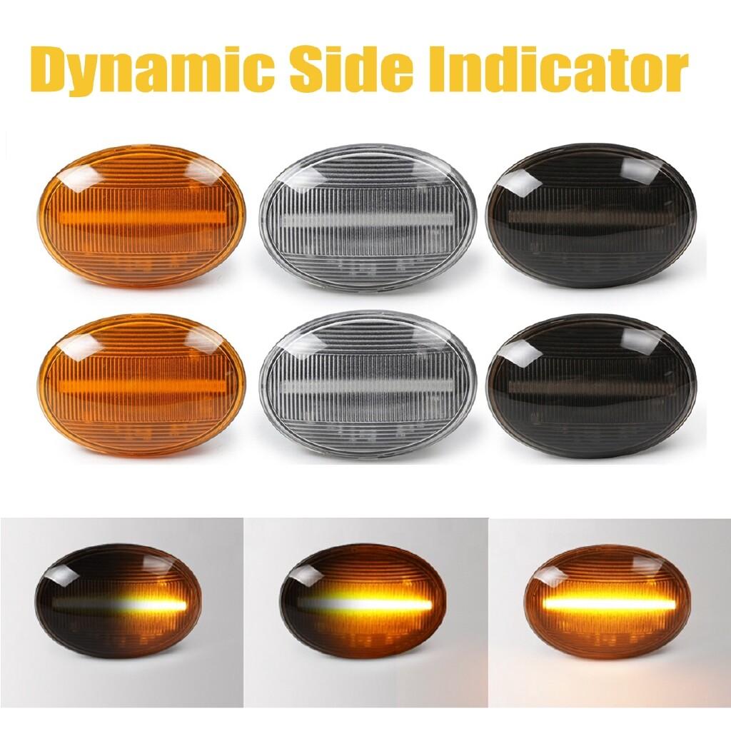 Car Lights - 2x Dynamic LED Side Marker Lights Indicator For MINI Cooper R55 R56 R57 R58 R59 - CLEAR / BLACK