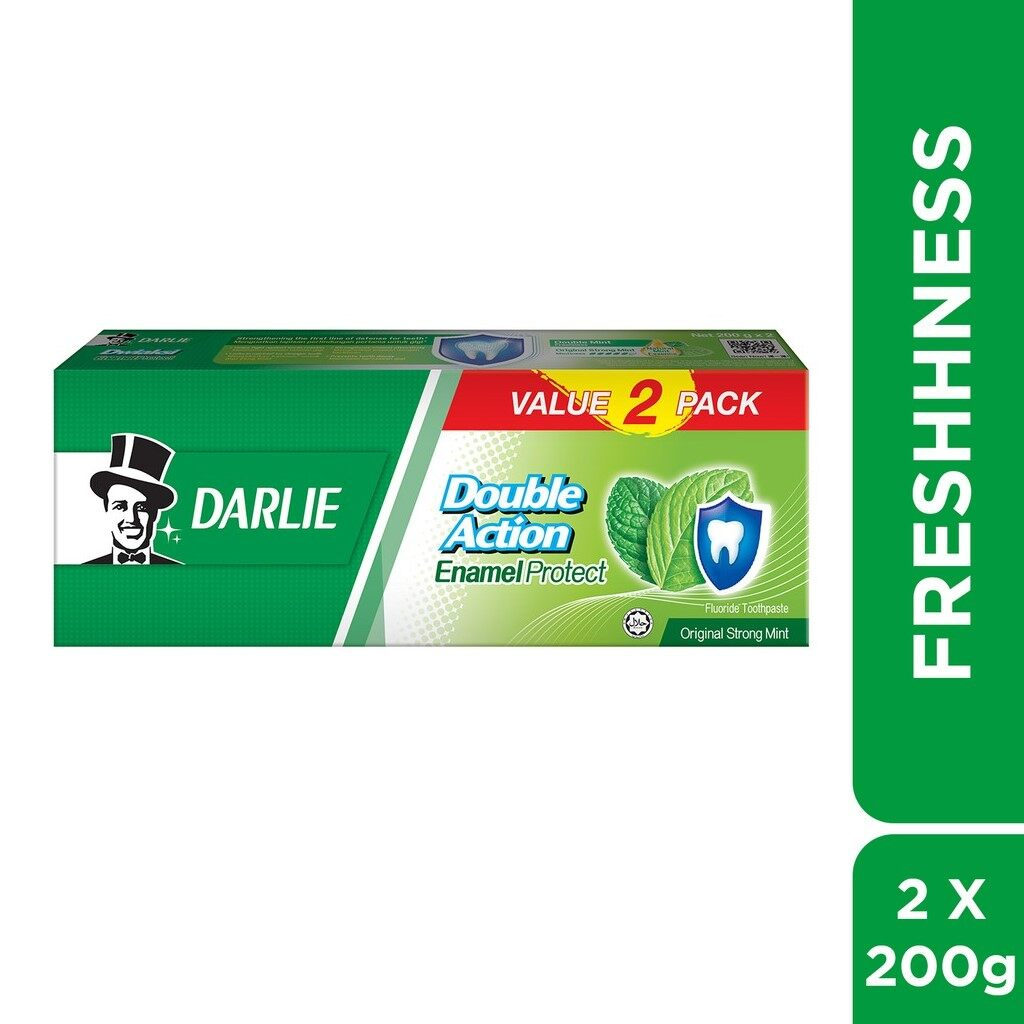 DARLIE Double Action Enamel PROTECT 200G x 2 - Original Strong Mint