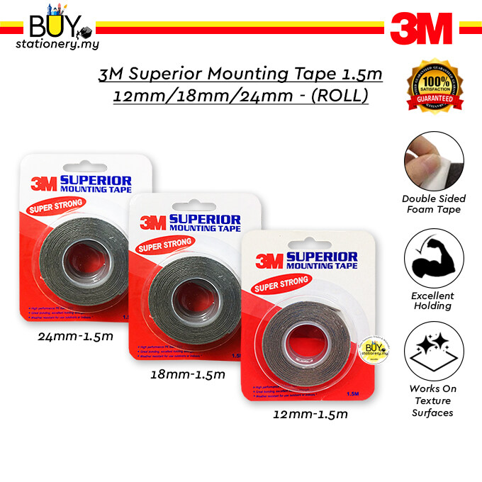 3M Double-Sided Superior Mounting Tape 1.5m 12mm/18mm/24mm - (ROLL)