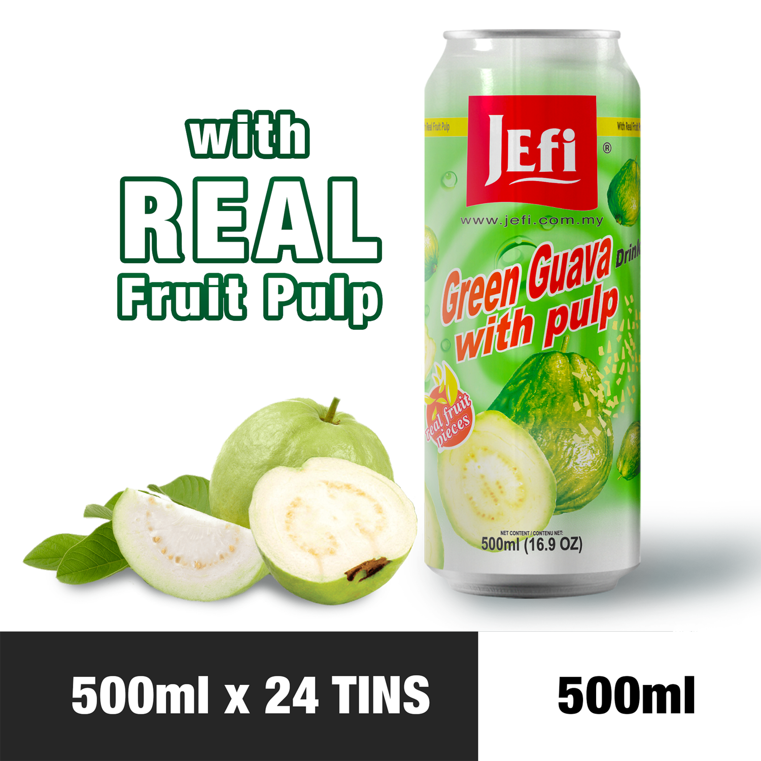 JEFI Green Guava Drink with Real Fruit Pulp (500ml x 24tins)