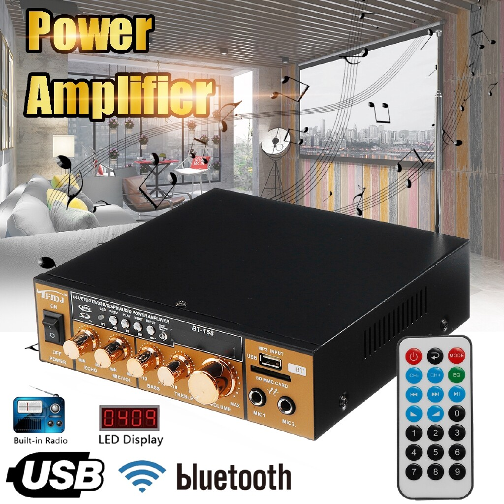 Vehicle Speakers & Subwoofers - Black And Gold600W 220V 2CH Remote Control HIFI Audio Stereo Power LCD Amplifier BLUETOOTH FM Radio - Car Electronics