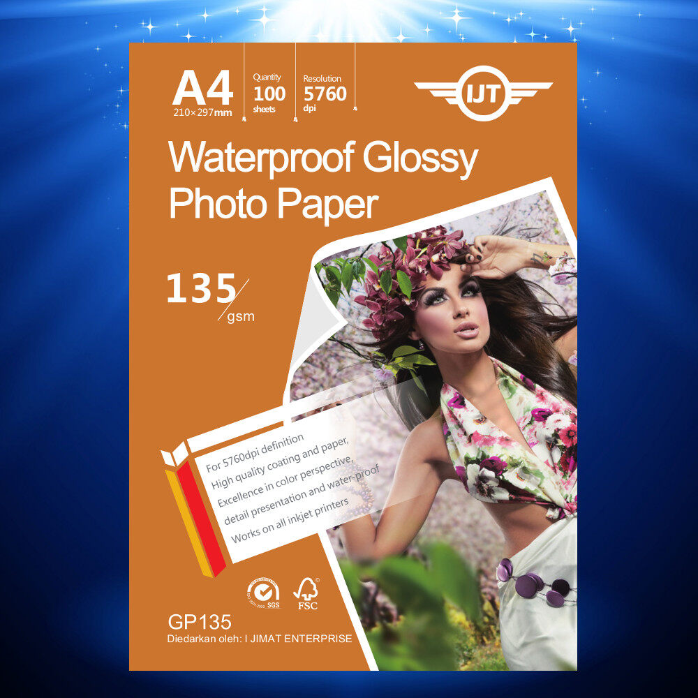 Glossy Photo Paper A4 Size 135g 135gsm 100's (Each Pack 100Sheets) I JIMAT