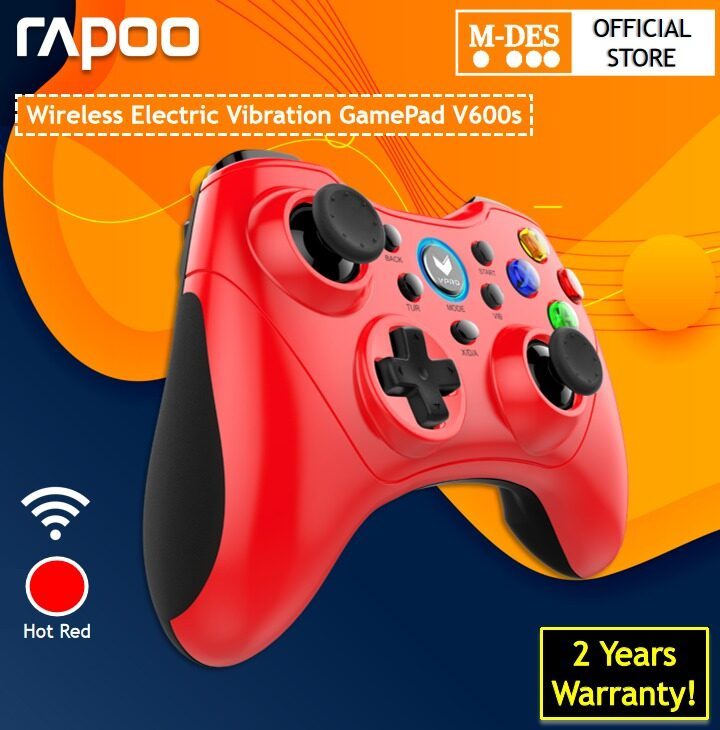 RapooV600SWireless Gaming Controller ElectricVibrationGamepad(Blue/Red) [2 Years Warranty]