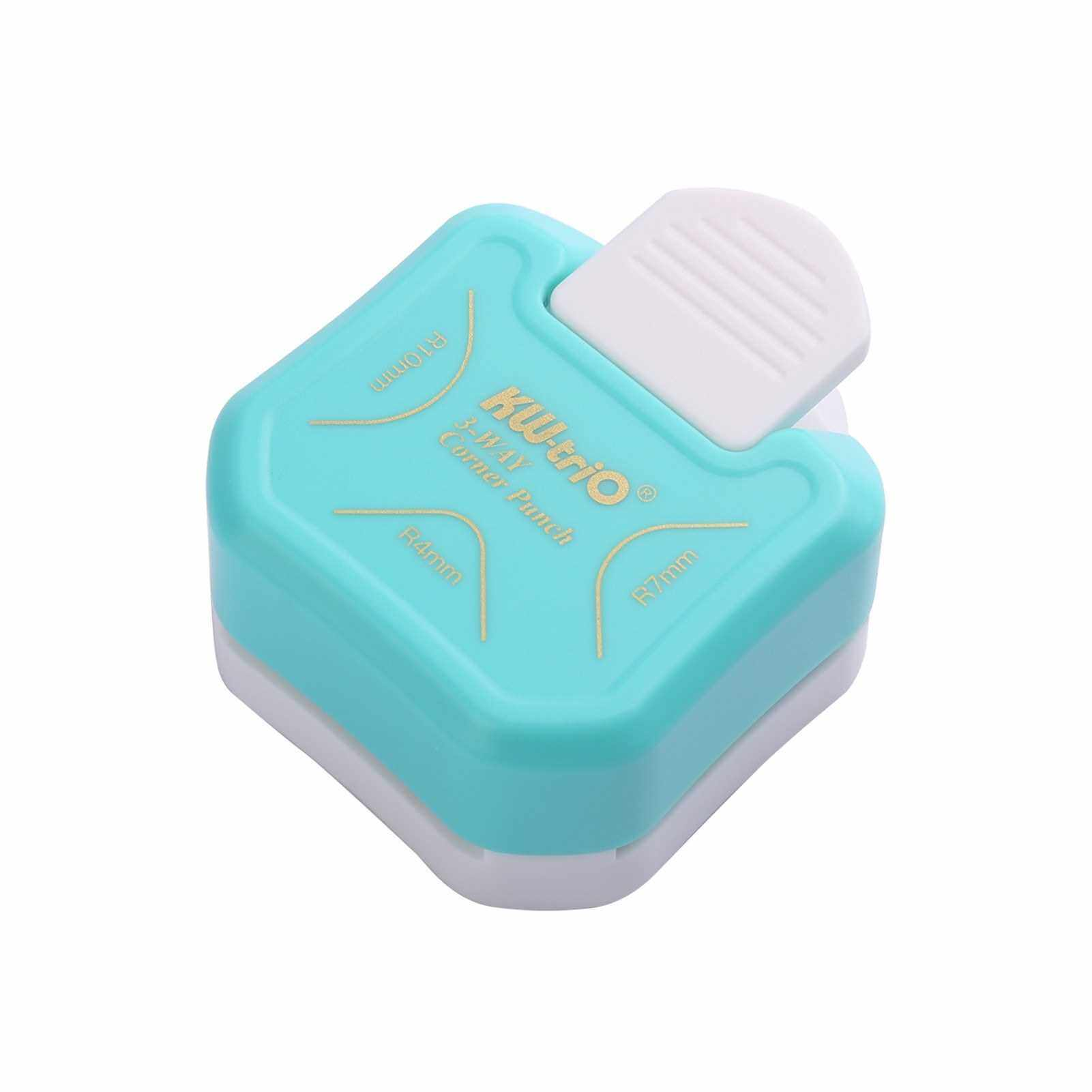 KW-trio 3-in-1 Corner Rounder Punch R4/R7/R10mm Round Corner Trimmer Cutter for Card Photo Paper Laminating Pouches (Blue)