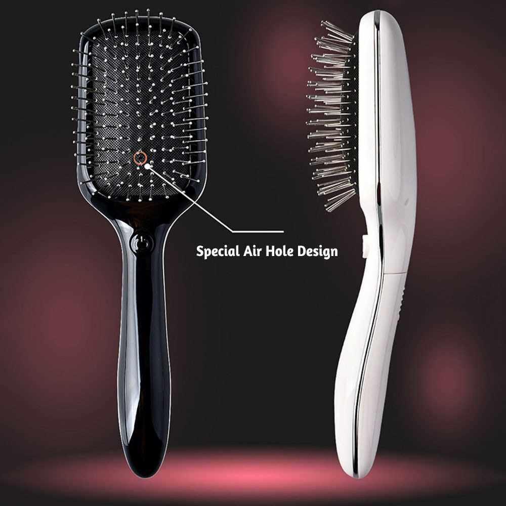 Electric Hair Brush Comb Portable Metal Anti-Static Magnetic-Massage Air Cushion Hair Comb (Black)