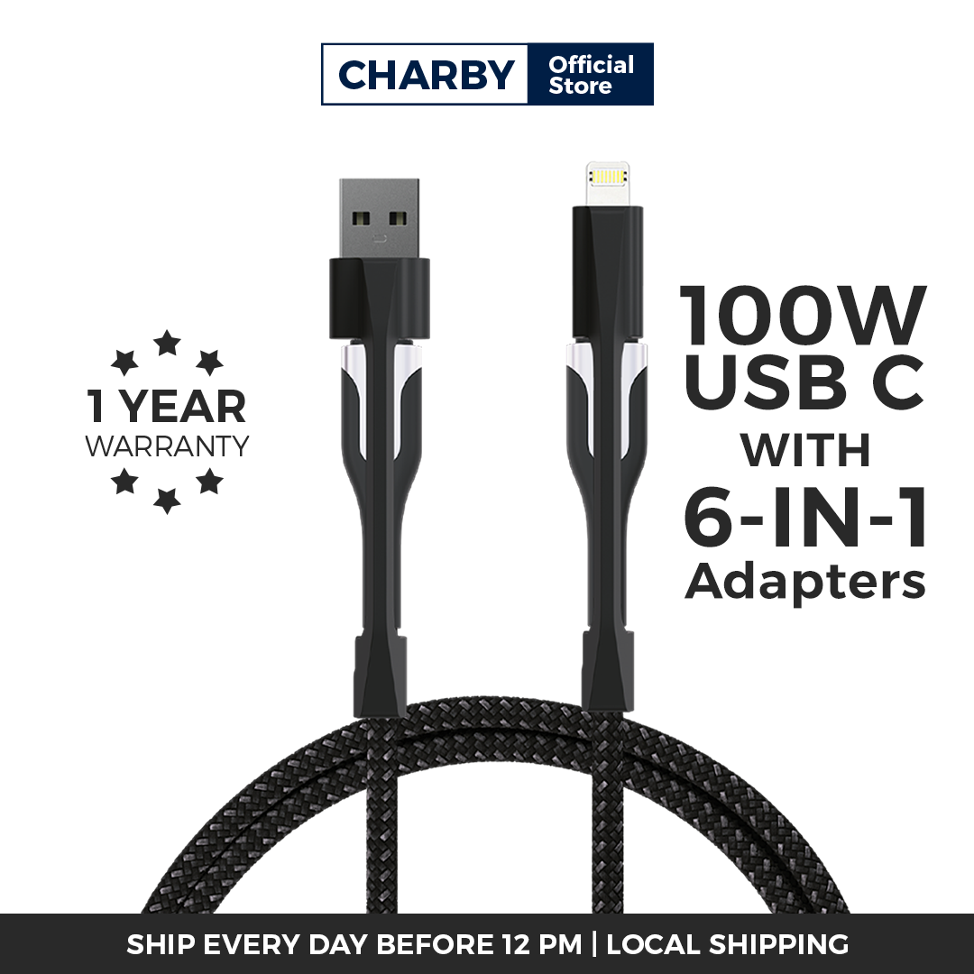 CHARBY Edge Pro 6 in 1 Universal cable (2m) / 100W USB-C, iOS Lightning & Micro USB / Fast Charging Cable / All devices