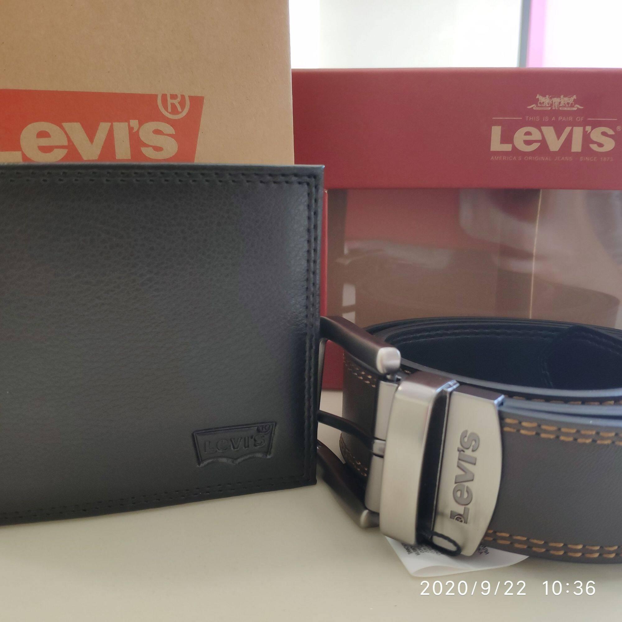 Levis Men Genuine Leather Short Wallet Wallets + Belt Belts