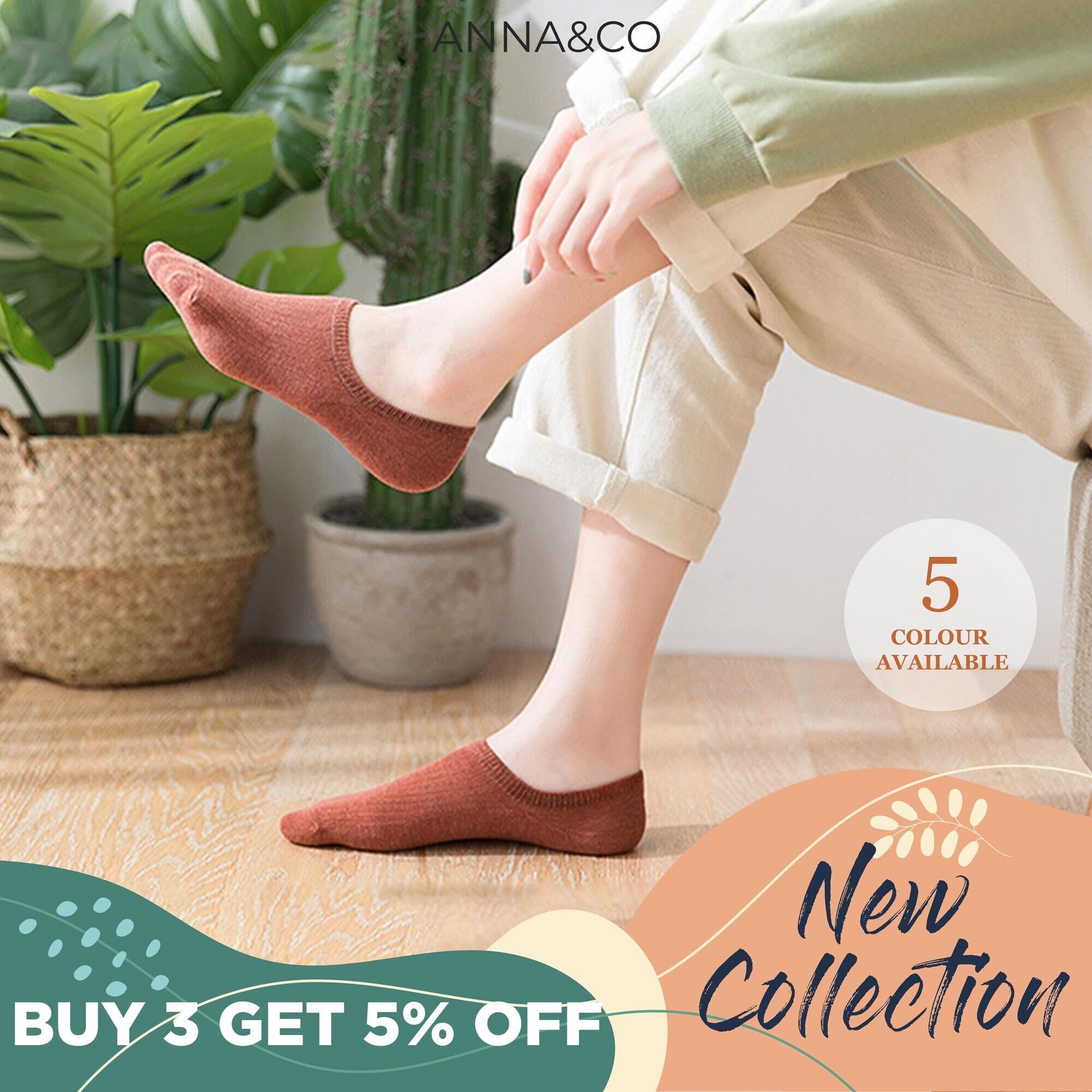 [READY STOCK] AnnaCo Zora Women Cotton Socks One Pair Anti Slip Premium Invisible Breathable Ankle Low Cut Cotton Socks S28 Zora Stokin Cotton Wanita Perumpuan Korean Style Plain Color S28